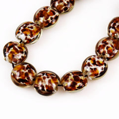 Leopard Glass Lamp Work Coin Beads - 6 beads 15mm