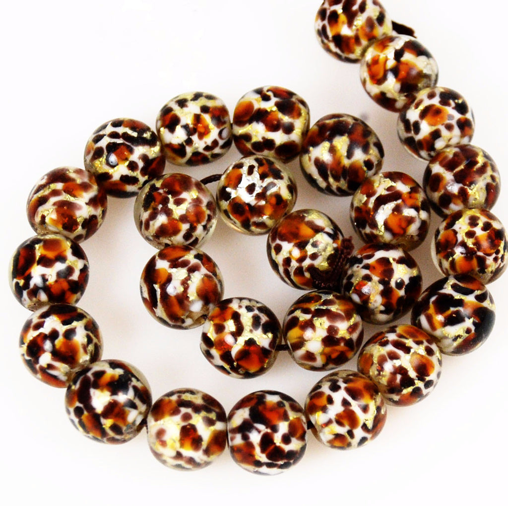 Leopard Glass Lamp Work Beads 12mm