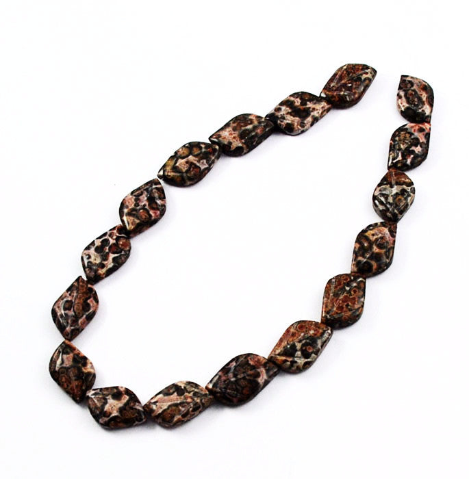Red Leopard Skin Jasper Carved Leaf Bead Strands