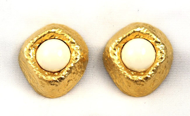 Les Bernard White and Gold Large Clip On Earrings Vintage