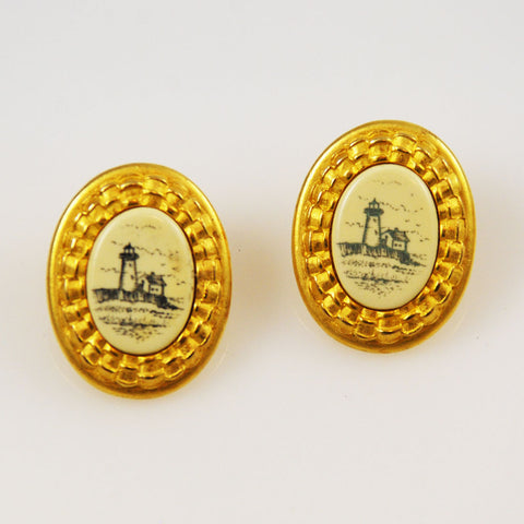 Scrimshaw Lighthouse Earrings by Paquette