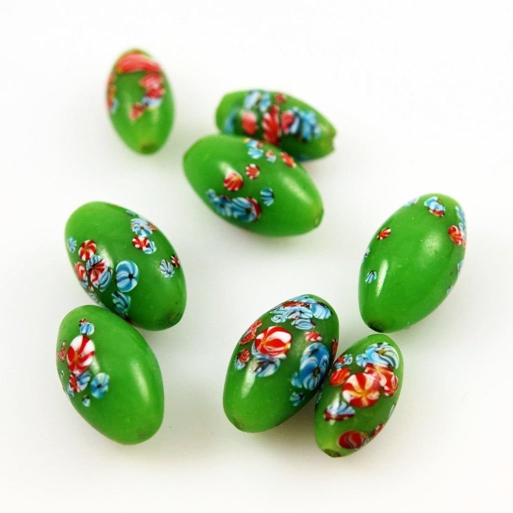 Lime Green Glass Millefiori Beads - Vintage Japanese