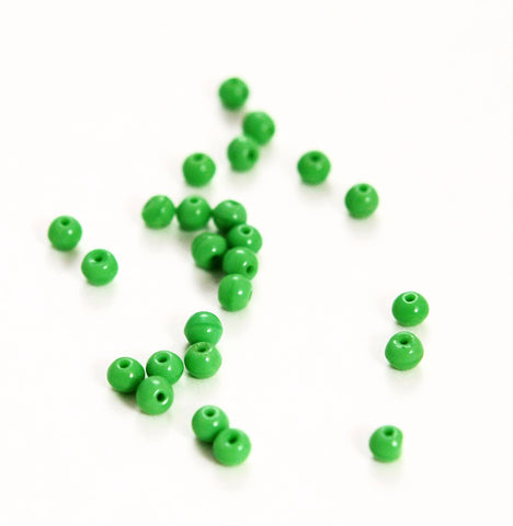 Lime Green Glass Opaque Round Beads 4mm