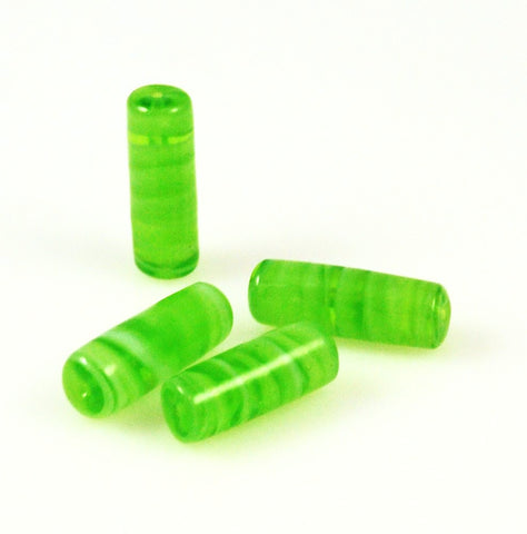 Lime Green Lamp Work Tube Beads 22mm