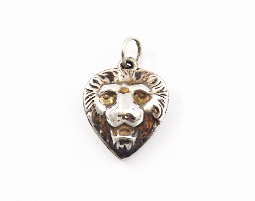 Sterling Lion Heart Charm 1920's