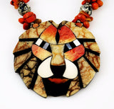 Coral Mosaic Lion Pendant Necklace Vintage