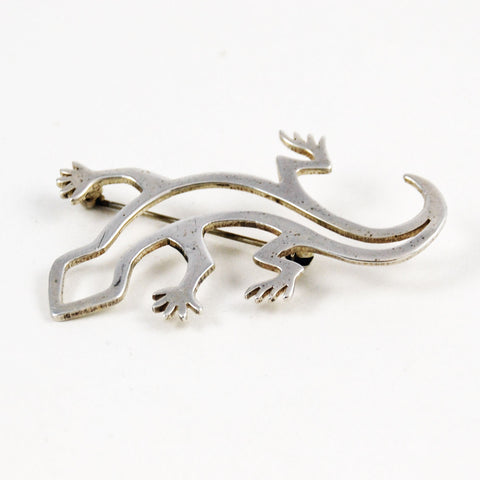 Native American Lizard Brooch Sterling Navajo Vintage