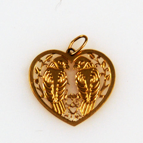 Gold Love Bird Heart Charm 14K
