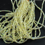 Light Yellow Faceted Glass Beads AB Finish 4mm