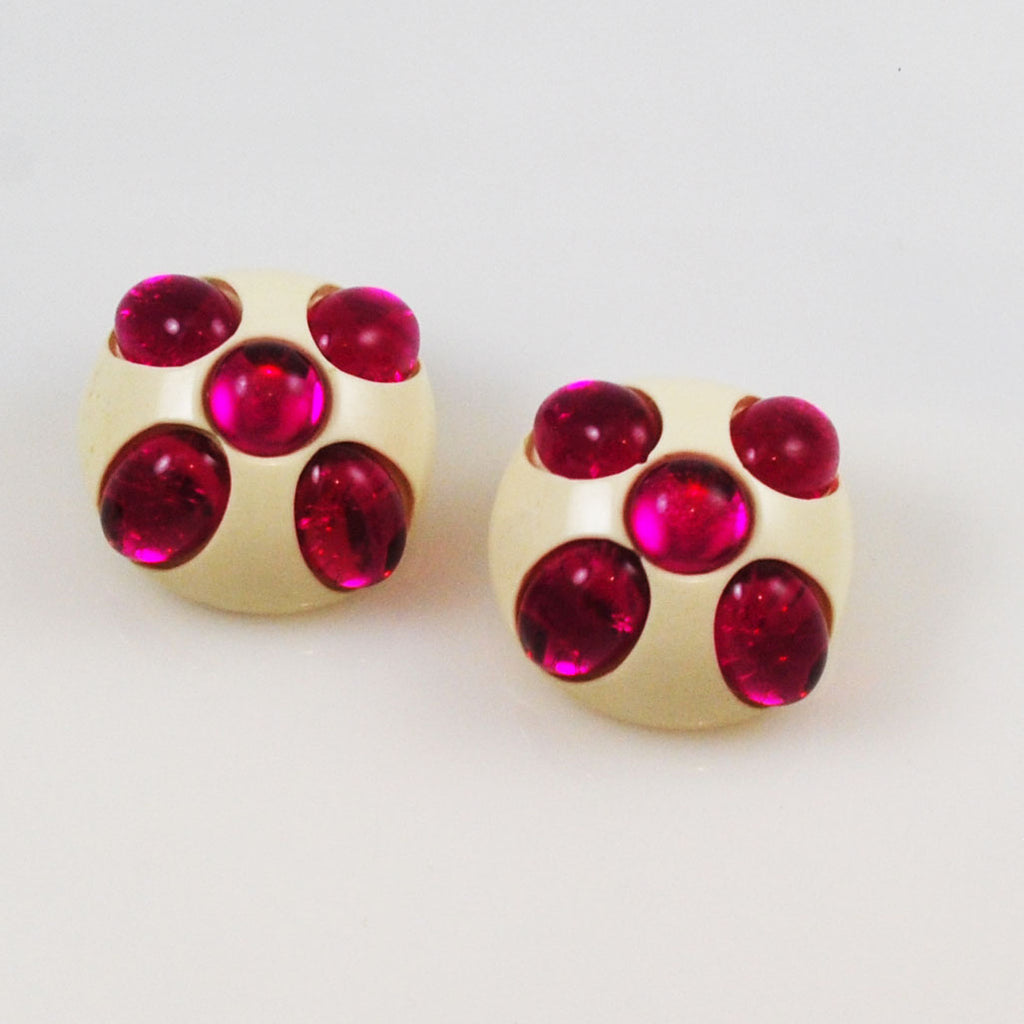 Fuchsia Lucite Clip On Earrings Modern