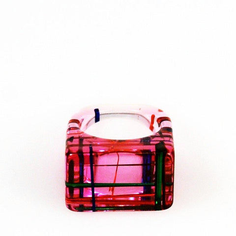 Lucite Pink Ring 8½ Mid-Century Modern