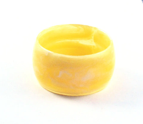 Wide Pale Yellow Lucite Bangle Bracelet