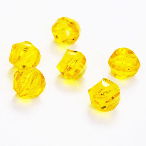 Yellow Lucite Faceted Twist Beads 18mm