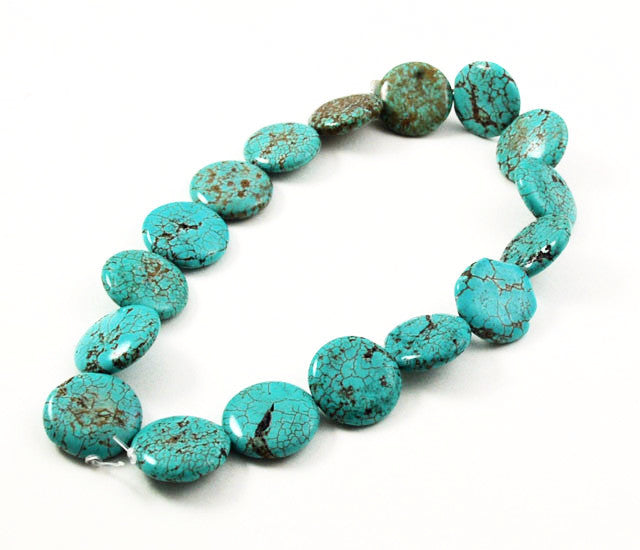 Large Turquoise Magnesite Coin Beads 25mm