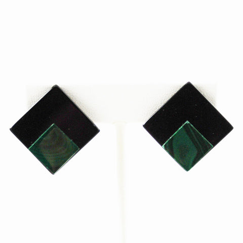 Malachite & Black Onyx Clip On Earrings