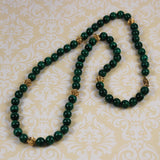 Malachite & Gold Beaded Necklace 10mm