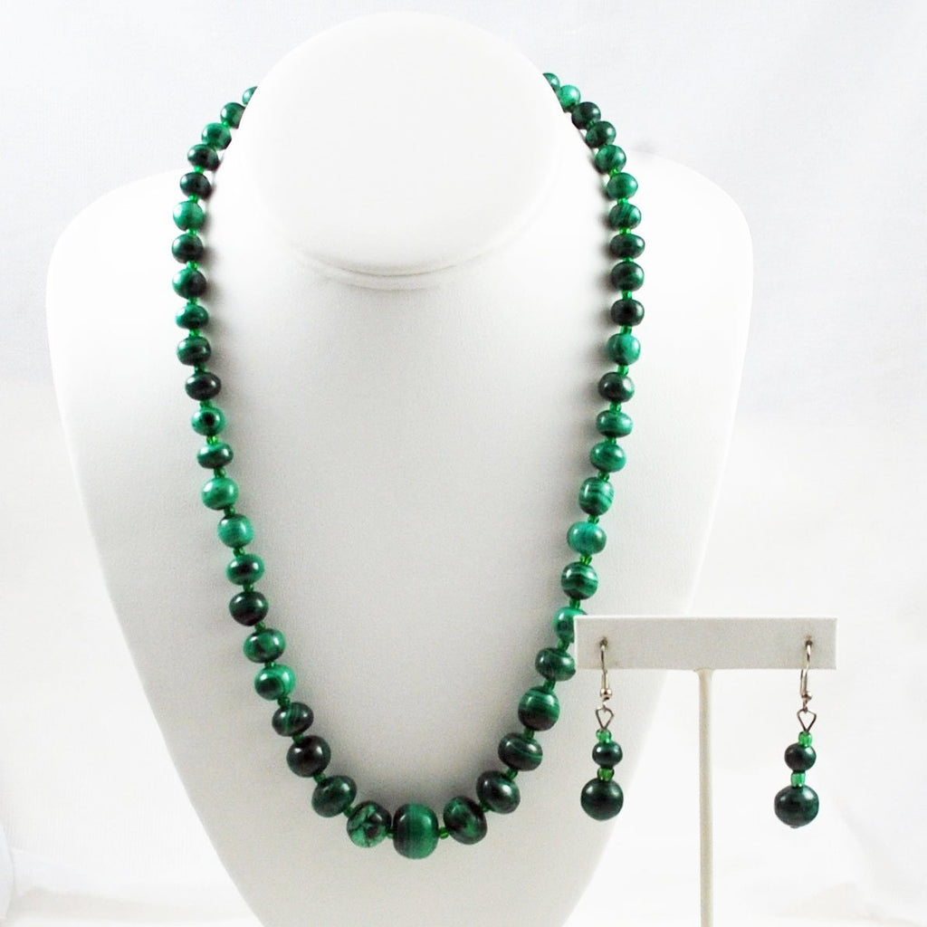 Malachite Beaded Necklace and Earring Set
