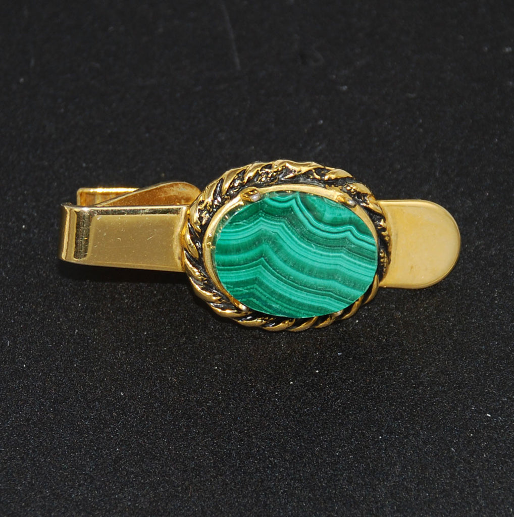 Malachite Gold Filled Tie Bar Clip