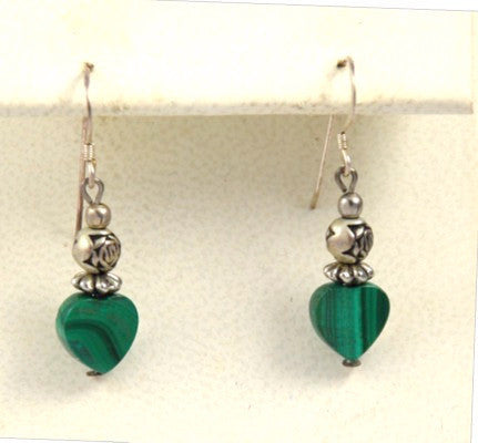 Malachite Heart Pierced Earrings Vintage