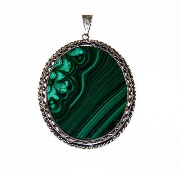 Large Malachite & Sterling Framed Pendant