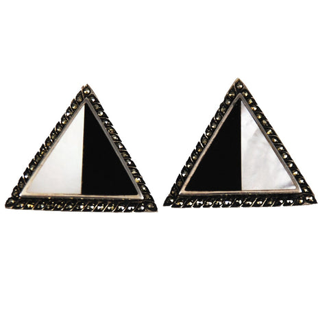 Black Onyx & Mother of Pearl Marcasite Earrings