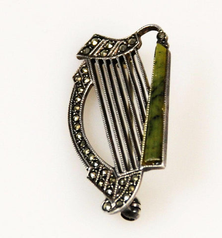 Sterling Marcasite Irish Harp Brooch