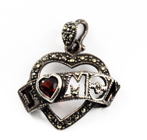 Sterling & Garnet Marcasite Mom Heart Charm