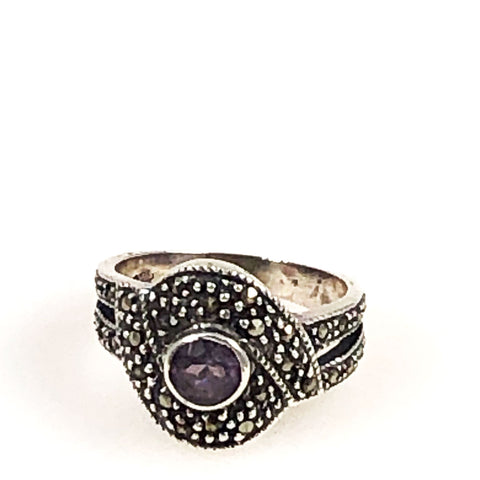 Marcasite & Amethyst Sterling Ring