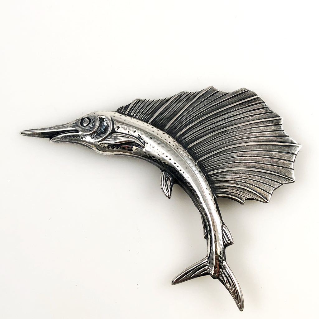 Sterling Marlin Swordfish Large Brooch