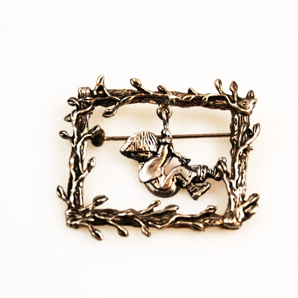 Mary Engelbreit Sterling Silver Brooch Vintage