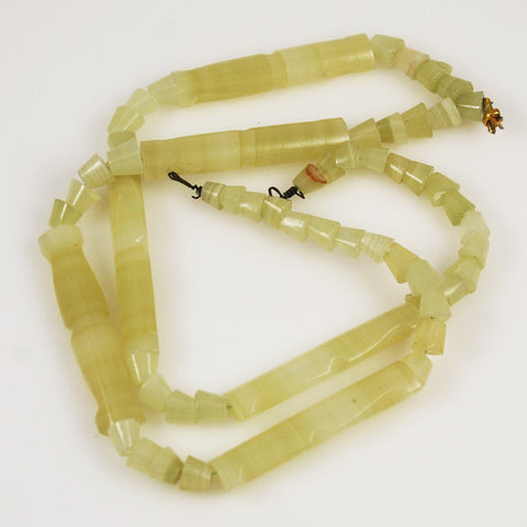 Mexican Onyx Carved Bead Strand Light Green