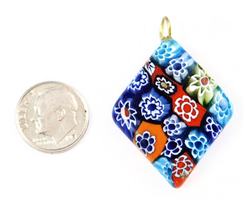 Millefiori Glass Diamond Pendant
