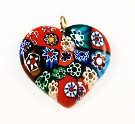 Millefiori Glass Heart Pendants