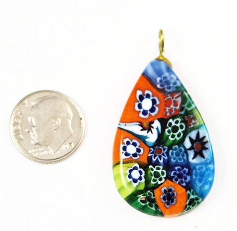 Millefiori Glass Teardrop Pendants