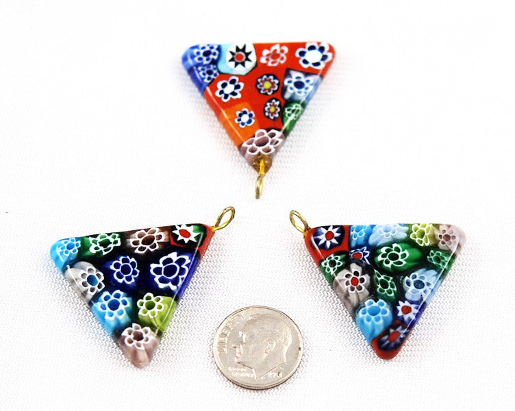 Millefiori Glass Triangle Pendants