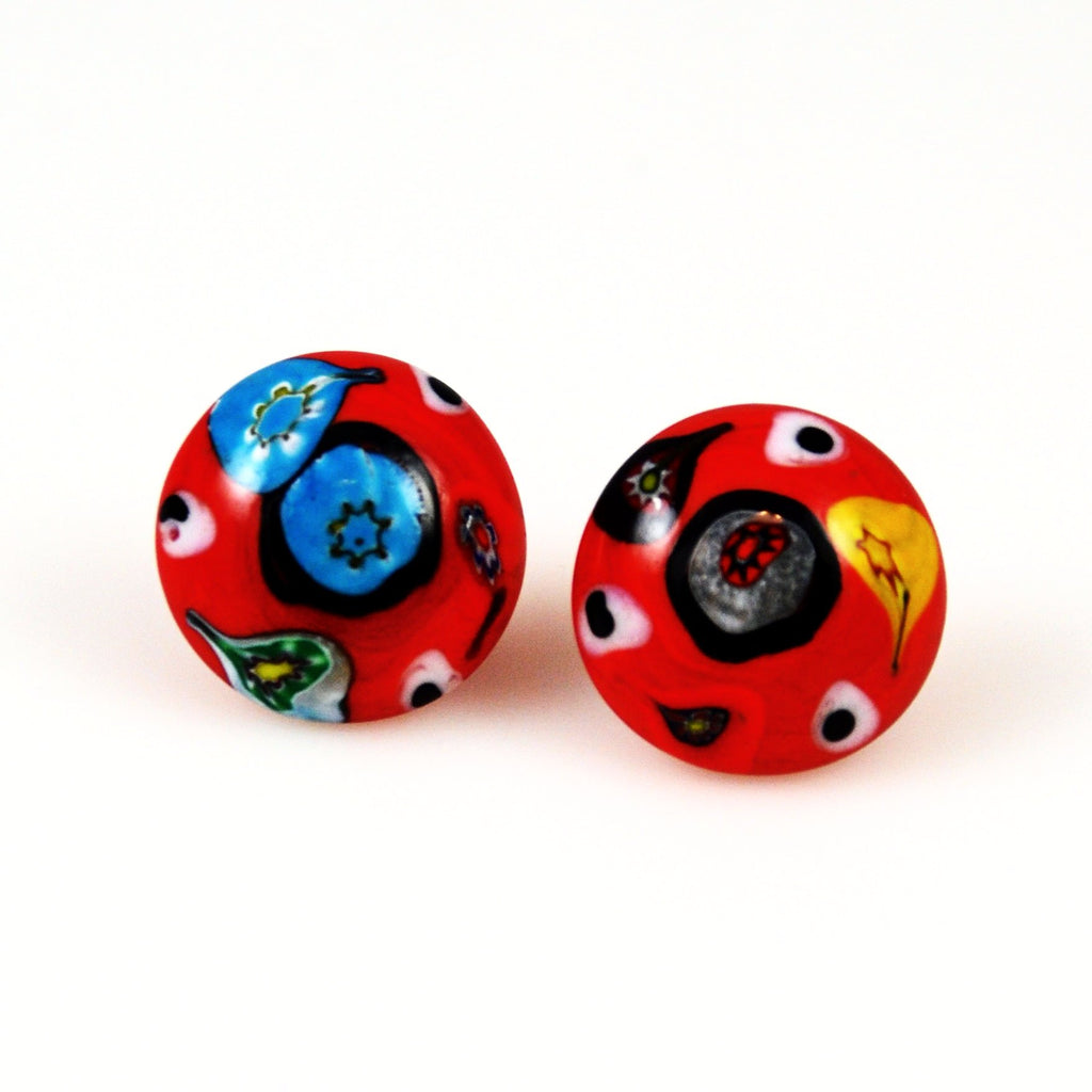 Italian Millefiori Glass Earrings - Antique
