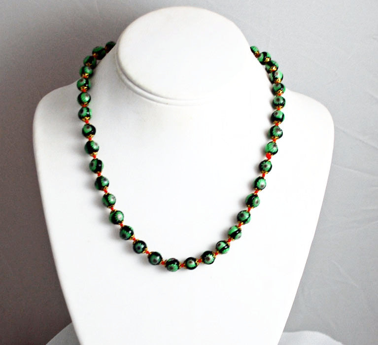 Italian Millefiori Bead Necklace Hand Knotted