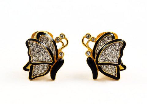 Nolan Miller Rhinestone Butterfly Earrings Vintage
