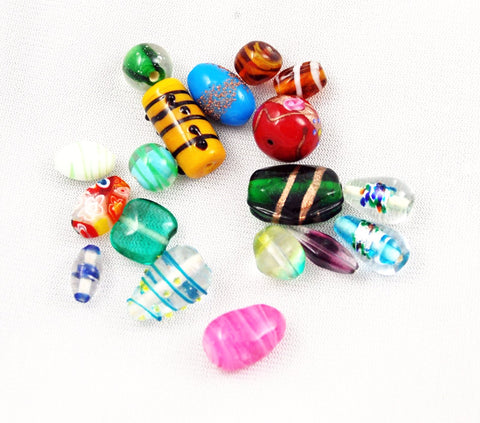 Vintage Fancy Lamp Work Glass Beads Mix