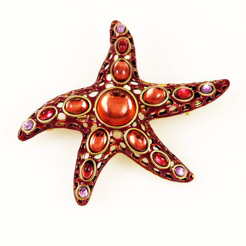 Monet Starfish Brooch Enamel & Poured Glass