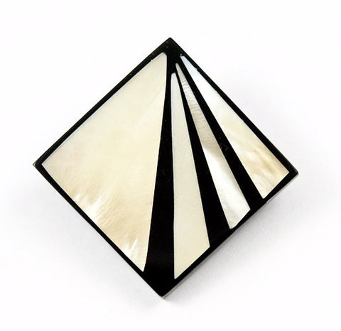 Inlaid Mother of Pearl Geometric Pendants Art Deco Plastic NOS