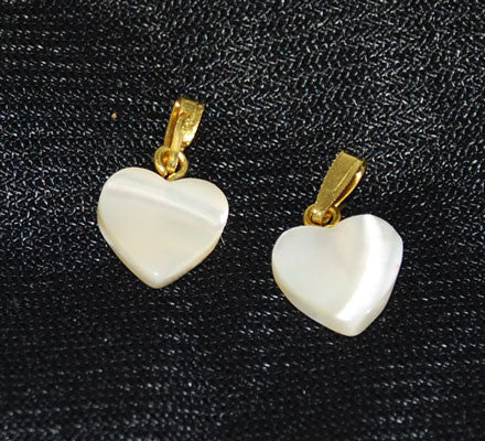 Pair of Mother of Pearl Heart Pendants