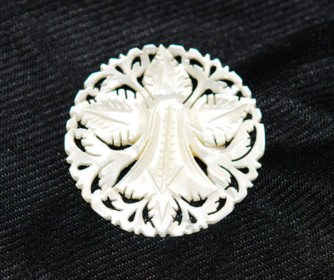 Victorian Hand Carved Mother of Pearl Brooch
