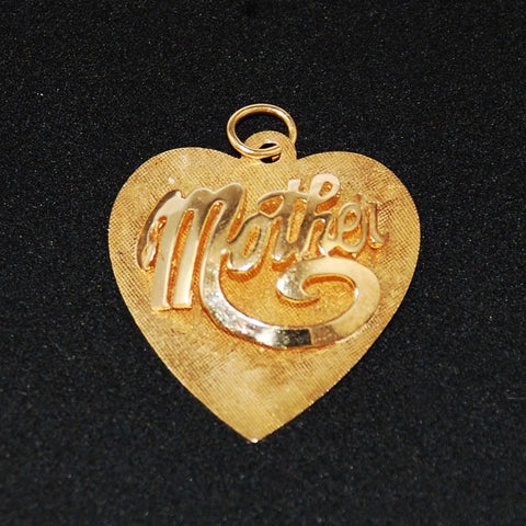 Mother 14K Gold Heart Pendant Vintage