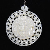 Vintage Carved Mother of Pearl Nativity Pendant