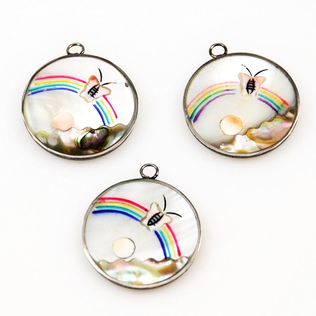 Mother of Pearl and Abalone Picture Pendants Vintage