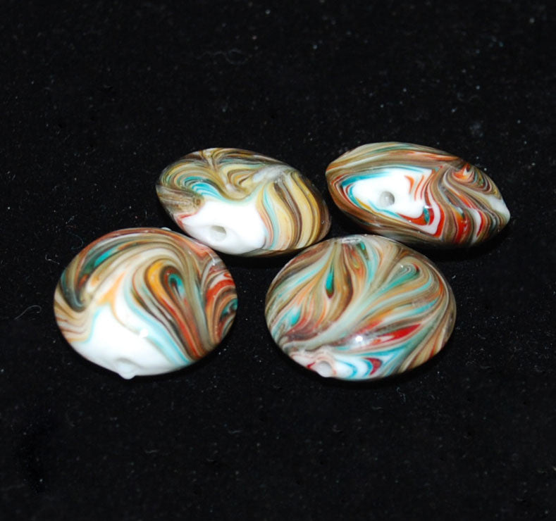 Multi Colored Murano Glass Coin Beads (2)- Vintage  20mm