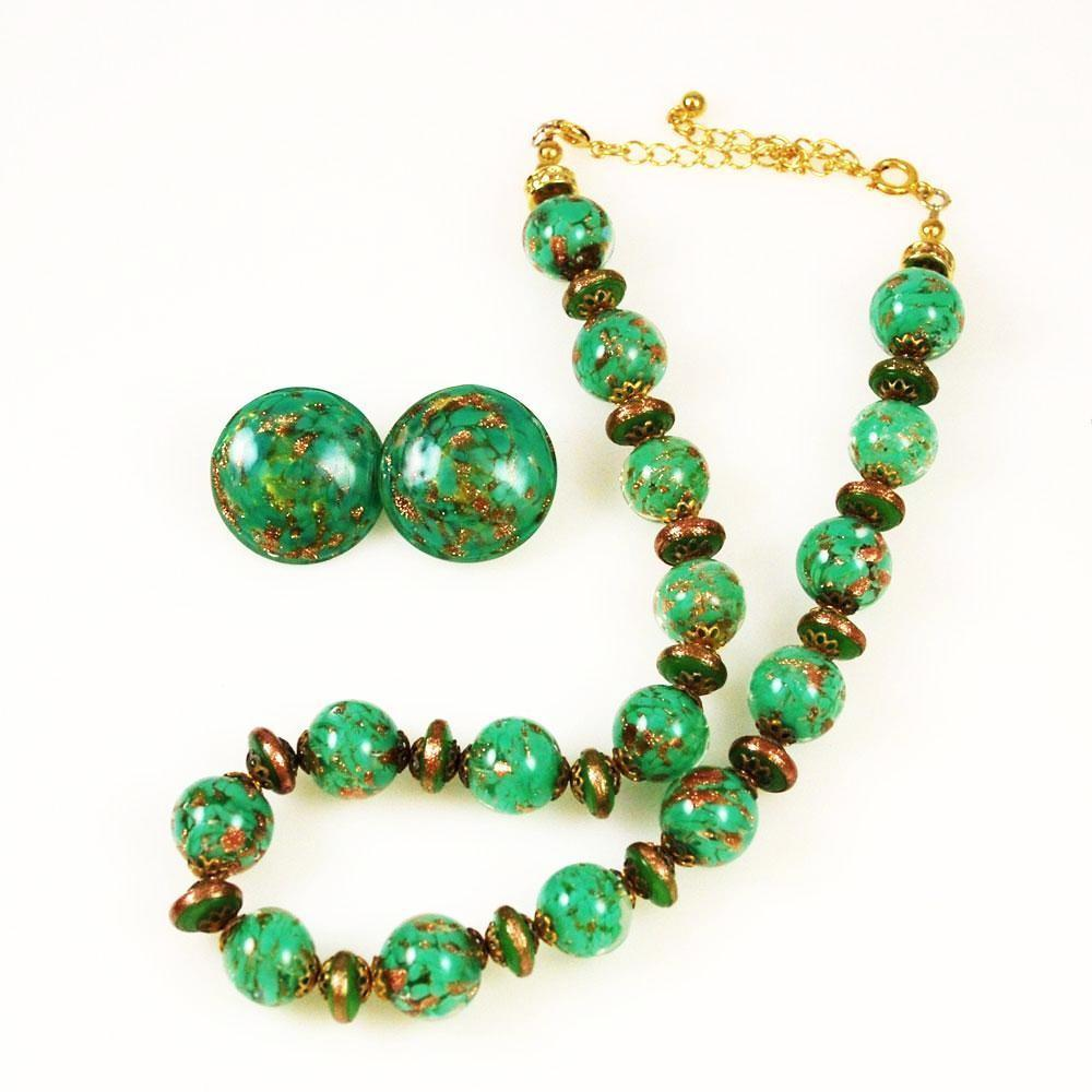 Murano Green Glass Bead Necklace Set