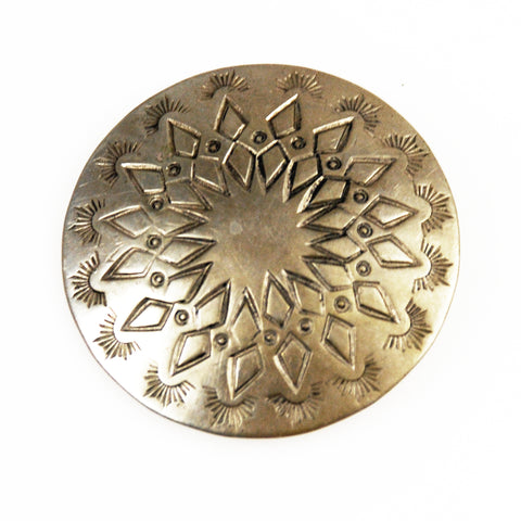 Native American  Concho Silver Button