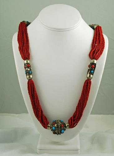Red Beaded Necklace BOHO Vintage